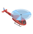 red helicopter icon isometric style vector image vector image