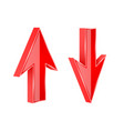 red up and down arrows 3d shiny signs vector image vector image