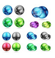 set of 3d metal round circles and spheres techno vector image