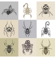 Set of nine tattoo vector image vector image