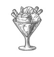 sketch ice cream scoops and berry sundae dessert vector image vector image