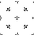 ski equipped airplane pattern seamless black vector image vector image