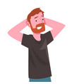 smiling bearded man standing with hands behind his vector image vector image