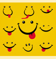 smiling face with tongue on yellow background vector image vector image