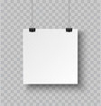 square paper poster hanging on a rope with clip vector image vector image