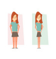 thin and fat woman body transformation before and vector image