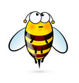 tired a cute bee on white vector image vector image