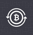 white bitcoin symbol with circle arrows vector image vector image