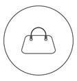 woman bag icon black color in circle vector image vector image