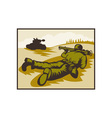 World two soldier aiming bazooka at battle tank vector image