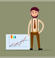 young manager standing near placard with charts vector image
