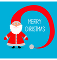 Face of Santa Claus Big hat Merry Christmas card vector image