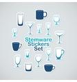 Set of stemware icon stickers vector image