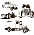 4 retro cars set isolated one vector image