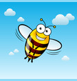 a friendly cute bee with smile in sky vector image vector image