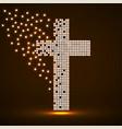 abstract glowing cross pixeles neon christian vector image vector image