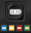 alarm clock icon symbol Set of five colorful vector image