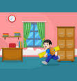 boy runs and holds big yellow ruler vector image vector image