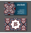 Business card template blue and red design vector image