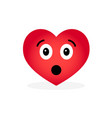 cartoon heart emoticon isolated on white vector image vector image