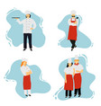 chefs in restaurant kitchen cooking cute cooks in vector image vector image