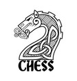 chess horse in celtic style vector image vector image