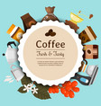 coffee shop round pattern vector image vector image