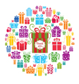 Colorful gift boxes in the circle vector image