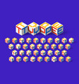 cube shape 3d isometric font three-dimentional vector image
