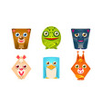 Cute animals geometric shape set bear frog