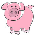 cute pig drawing on white background vector image