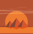 desert view egypt pyramids sunset flat vector image vector image
