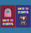 girlie and unisex bags back to school promo poster vector image vector image
