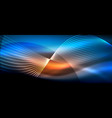 glowing abstract wave on dark shiny motion magic vector image