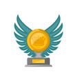 golden trophy cup with glassy wings icon vector image vector image