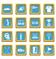 golf items icons azure vector image vector image