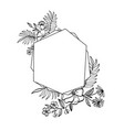 graphic floral geometry frame leaves and vector image