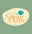 green postcard with message hello spring vector image