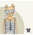 Hand Drawn Fashion Portrait Of Hipster Cat vector image vector image