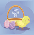 happy easter day card with cute chicken and eggs vector image vector image