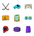 hockey sport icons set cartoon style vector image vector image