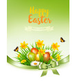 holiday easter background with a colorful eggs vector image vector image