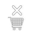 icon concept shopping cart and x mark vector image vector image