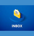 inbox isometric icon isolated on color background vector image