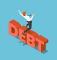 isometric businessman jumping over debt vector image vector image