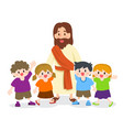 jesus christ with group of children vector image