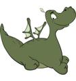 Little green dragon cartoon vector image vector image