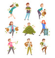 lucky successful rich people set happy wealthy vector image