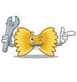 mechanic farfalle pasta mascot cartoon vector image