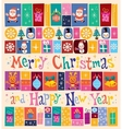 Merry Christmas and Happy New Year retro Greeting vector image vector image